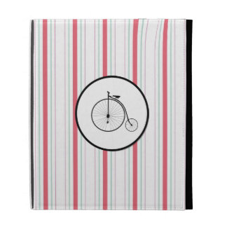 Antique High Wheeler Bicycle on Red Blue Stripes iPad Folio Covers