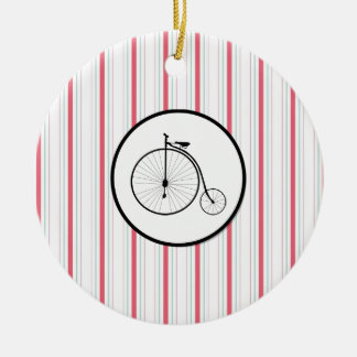 Antique High Wheeler Bicycle on Red Blue Stripes Ceramic Ornament