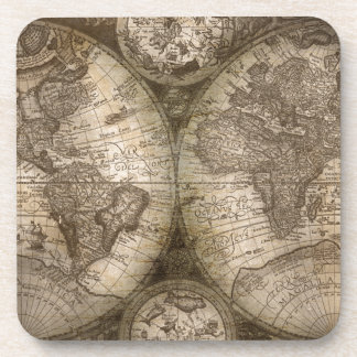 Antique Historical Old World Atlas Map Continents Drink Coaster