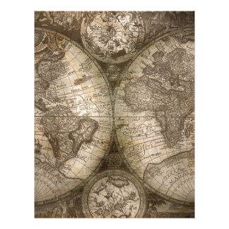 Antique Historical Old World Atlas Map Continents Letterhead