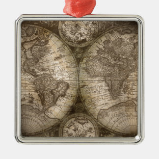 Antique Historical Old World Atlas Map Continents Metal Ornament