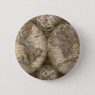Antique Historical Old World Atlas Map Continents Pinback Button