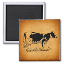 Antique Holstein Cow Farm Animal Illustration Magnet