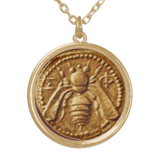 ANTIQUE HONEY BEE COIN GOLD PLATED NECKLACE