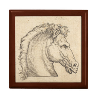 Antique Horse Head German Engraving Keepsake Box