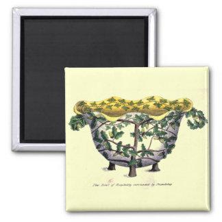 Antique hospitality friendship Floral Emblem 2 Inch Square Magnet