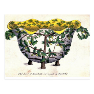 Antique hospitality friendship Floral Emblem Postcard