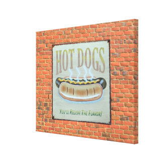 Antique Hot Dog Sign with wall background canvas Canvas Print