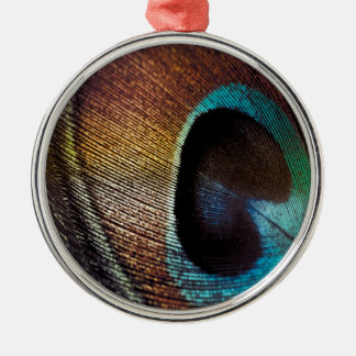 Antique Hues Peacock Feather Eye Metal Ornament