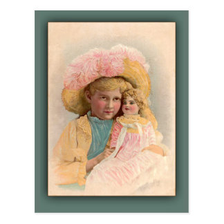 Antique Illustration Child with Doll Cards Post Cards