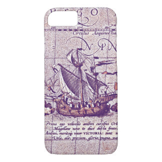 Antique Illustration Magellans Ship from Map iPhone 7 Case