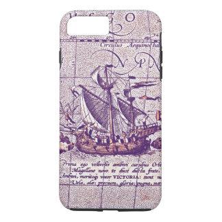 Antique Illustration Magellans Ship from Map iPhone 8 Plus/7 Plus Case