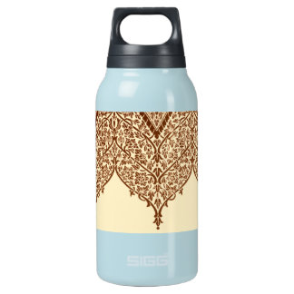 Antique Indian Pattern Sepia Floral Vintage Zen Insulated Water Bottle