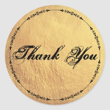 Professional Business Antique Inspired Gold Textured Thank You Classic Round Sticker