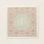 Antique Inspired Pink and green Monogram Disposable Napkins