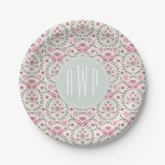 Antique Inspired Pink and green Monogram 7 Inch Paper Plate