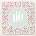 Antique Inspired Pink and green Monogram Square Paper Coaster