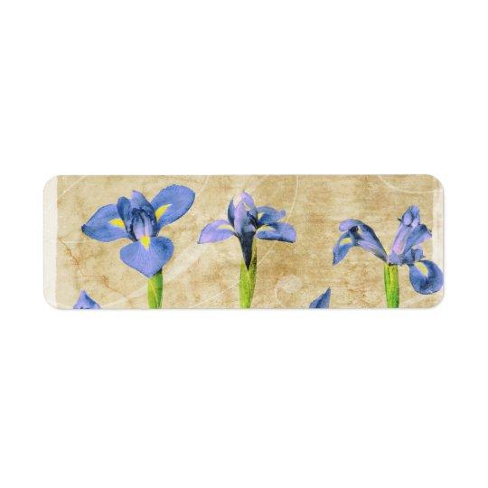 Antique Irises - Vintage Iris Background Customize Label