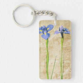 Antique Irises - Vintage Iris Background Customize Single-Sided Rectangular Acrylic Keychain