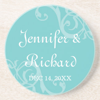 Antique iron scroll blue custom name wedding date drink coaster