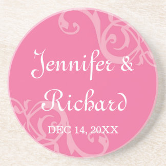 Antique iron scroll pink custom name wedding date coaster