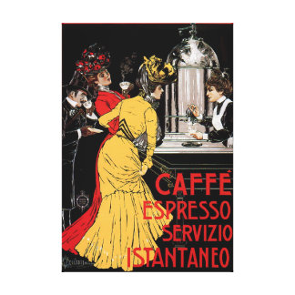 Antique Italian Coffee Bar Espresso Ad Poster Gallery Wrapped Canvas