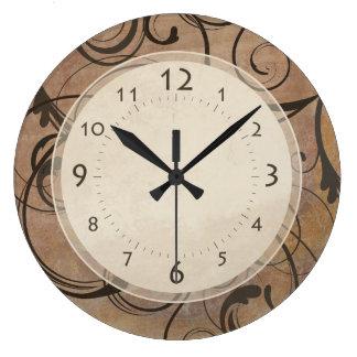 Antique Italian Elegant Swirls Tuscany Brown Large Clock