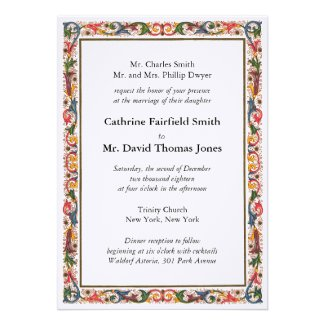 Antique Italian Flower Border Wedding Invitation