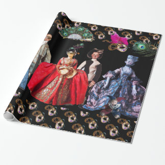 ANTIQUE ITALIAN PUPPETS AND MASKS MASQUERADE PARTY WRAPPING PAPER