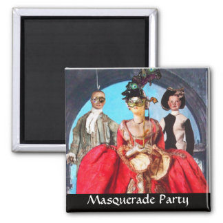 ANTIQUE ITALIAN PUPPETS MASQUERADE COSTUME PARTY 2 INCH SQUARE MAGNET