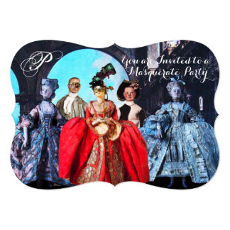 ANTIQUE ITALIAN PUPPETS MASQUERADE COSTUME PARTY CARD