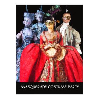 ANTIQUE ITALIAN PUPPETS MASQUERADE COSTUME PARTY INVITE