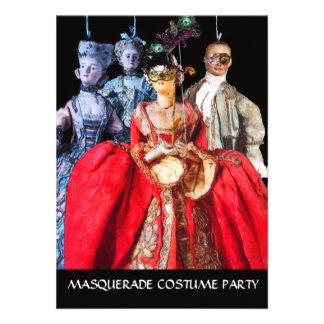 ANTIQUE ITALIAN PUPPETS MASQUERADE COSTUME PARTY CUSTOM INVITES