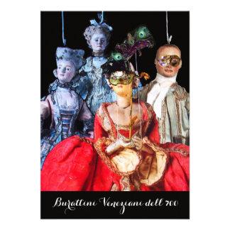 ANTIQUE ITALIAN PUPPETS MASQUERADE COSTUME PARTY ANNOUNCEMENT