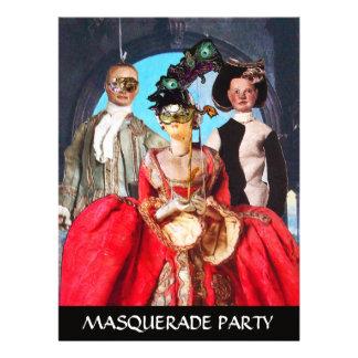ANTIQUE ITALIAN PUPPETS MASQUERADE COSTUME PARTY CUSTOM ANNOUNCEMENT