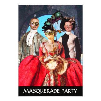 ANTIQUE ITALIAN PUPPETS MASQUERADE COSTUME PARTY PERSONALIZED INVITE