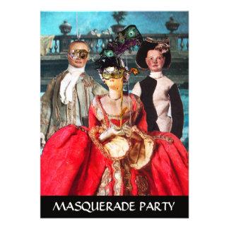 ANTIQUE ITALIAN PUPPETS MASQUERADE COSTUME PARTY CUSTOM INVITATIONS