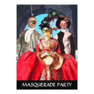 ANTIQUE ITALIAN PUPPETS MASQUERADE COSTUME PARTY INVITATIONS