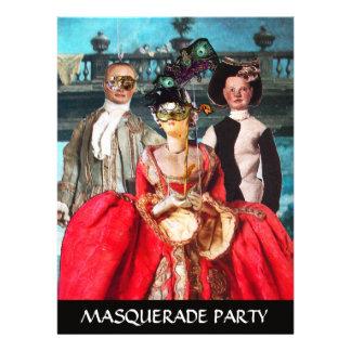 ANTIQUE ITALIAN PUPPETS MASQUERADE COSTUME PARTY CUSTOM ANNOUNCEMENTS