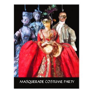 ANTIQUE ITALIAN PUPPETS MASQUERADE COSTUME PARTY INVITES