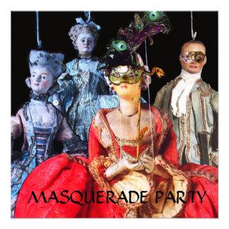 ANTIQUE ITALIAN PUPPETS MASQUERADE COSTUME PARTY CUSTOM INVITATION