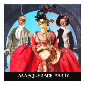 ANTIQUE ITALIAN PUPPETS MASQUERADE COSTUME PARTY PERSONALIZED ANNOUNCEMENT