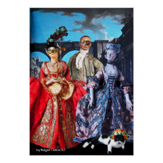 ANTIQUE ITALIAN PUPPETS MASQUERADE COSTUME PARTY POSTER