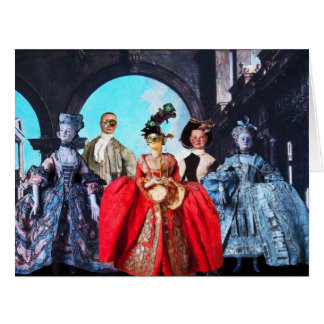 ANTIQUE ITALIAN PUPPETS MASQUERADE MASKS COSTUMES LARGE GREETING CARD