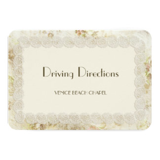 Antique Ivory Lace Floral Driving Directions Cards