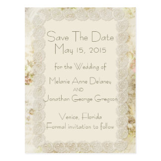 Antique Ivory Lace Floral Save The Date Postcards