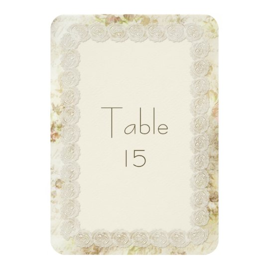 Antique Ivory Lace Floral Wedding Table Numbers Card