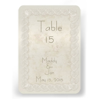 Antique Ivory Lace Floral Wedding Table Numbers Custom Invite