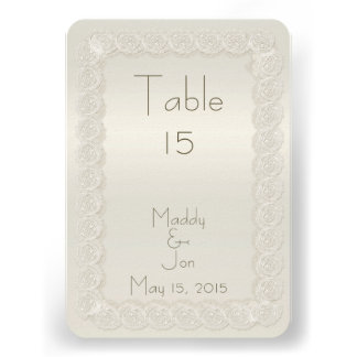 Antique Ivory Lace Floral Wedding Table Numbers Invitations