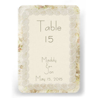 Antique Ivory Lace Floral Wedding Table Numbers Custom Invites